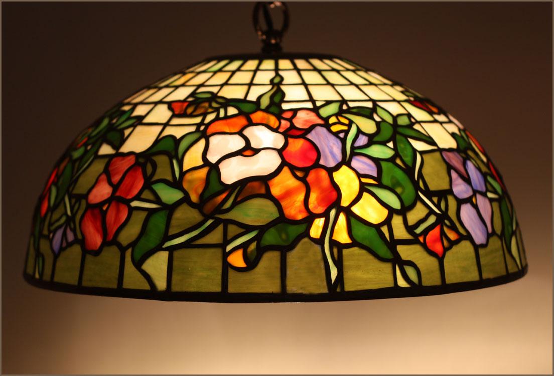 tiffany lampen polarfox hanglamp pansy 41cm. Black Bedroom Furniture Sets. Home Design Ideas