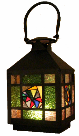 Stained glass lantern Welcome-light ↕ 25cm
