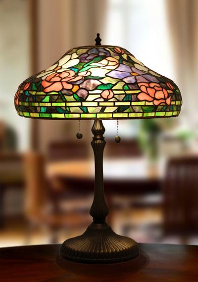 Tiffanylampa Bordslampa Peony Ø 41cm
