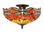 Tiffanylampa Plafond Dragonfly Ø 41cm
