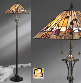 Tiffanylampa Golvlampa Dark Wood Ø 50cm