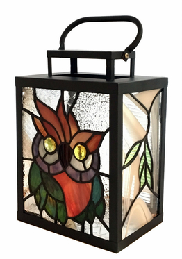 Stained glass lantern Owl ↕ 25cm