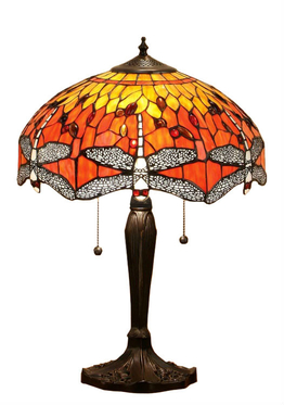 Tiffanylampa Bordslampa Dragon Fly Ø 41cm