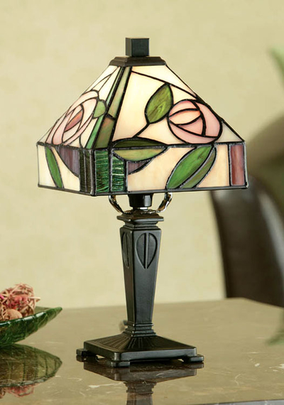 Tiffanylampa Bordslampa Rose Ø 15cm