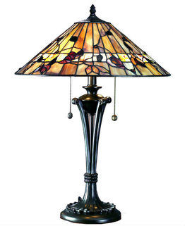 Tiffanylampa Bordslampa Dark Wood Ø 40cm