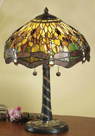 Tiffanylampa Bordslampa Dragonfly Green Ø 41cm