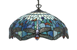 Tiffanylampa Taklampa Dragon Fly Blue Ø 41cm
