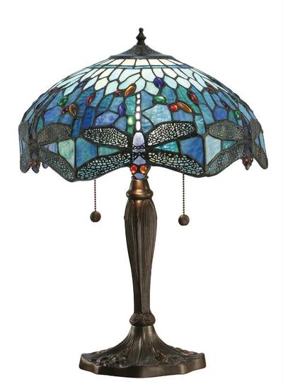 Tiffanylampa Bordslampa Dragonfly Blue  Ø 41cm