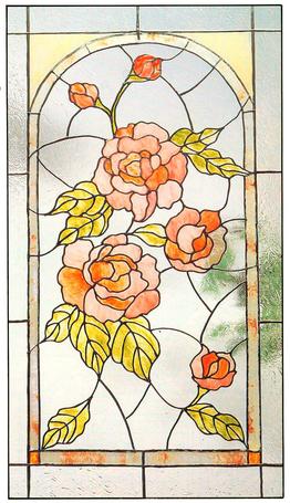 Glas in lood raam Roses