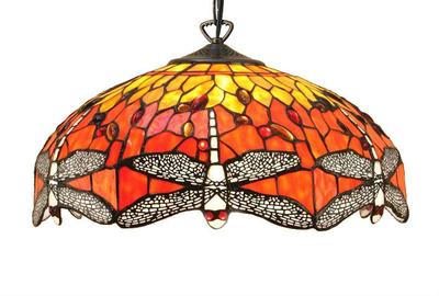 Tiffanylampa Taklampa Dragon Fly Ø 41cm