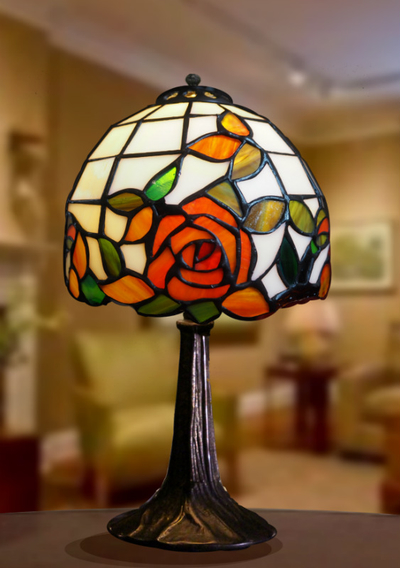 Tiffanylampa Bordslampa Red Rose Ø18cm