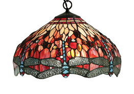 Tiffanylampa Taklampa Dragonfly Red Ø 41cm