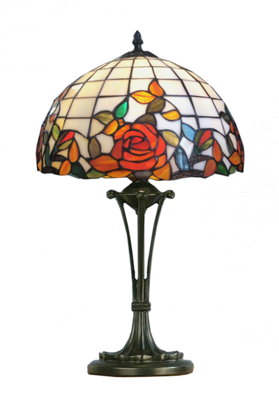 Tiffanylampa Bordslampa Red Rose Ø 31cm