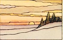 Blyinfattat Fönster Sunset